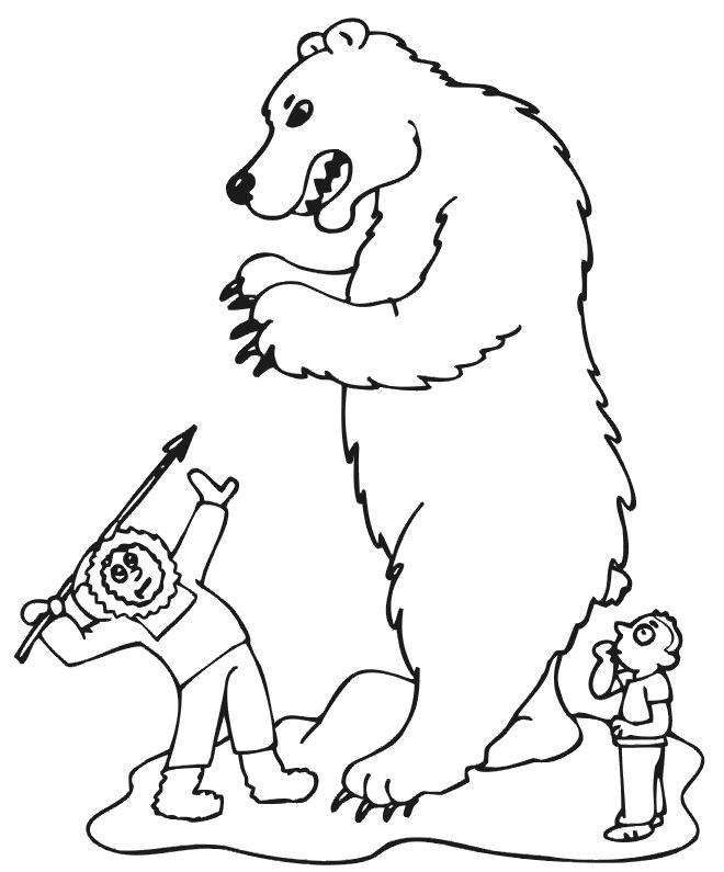 Раскраска человек и медведь