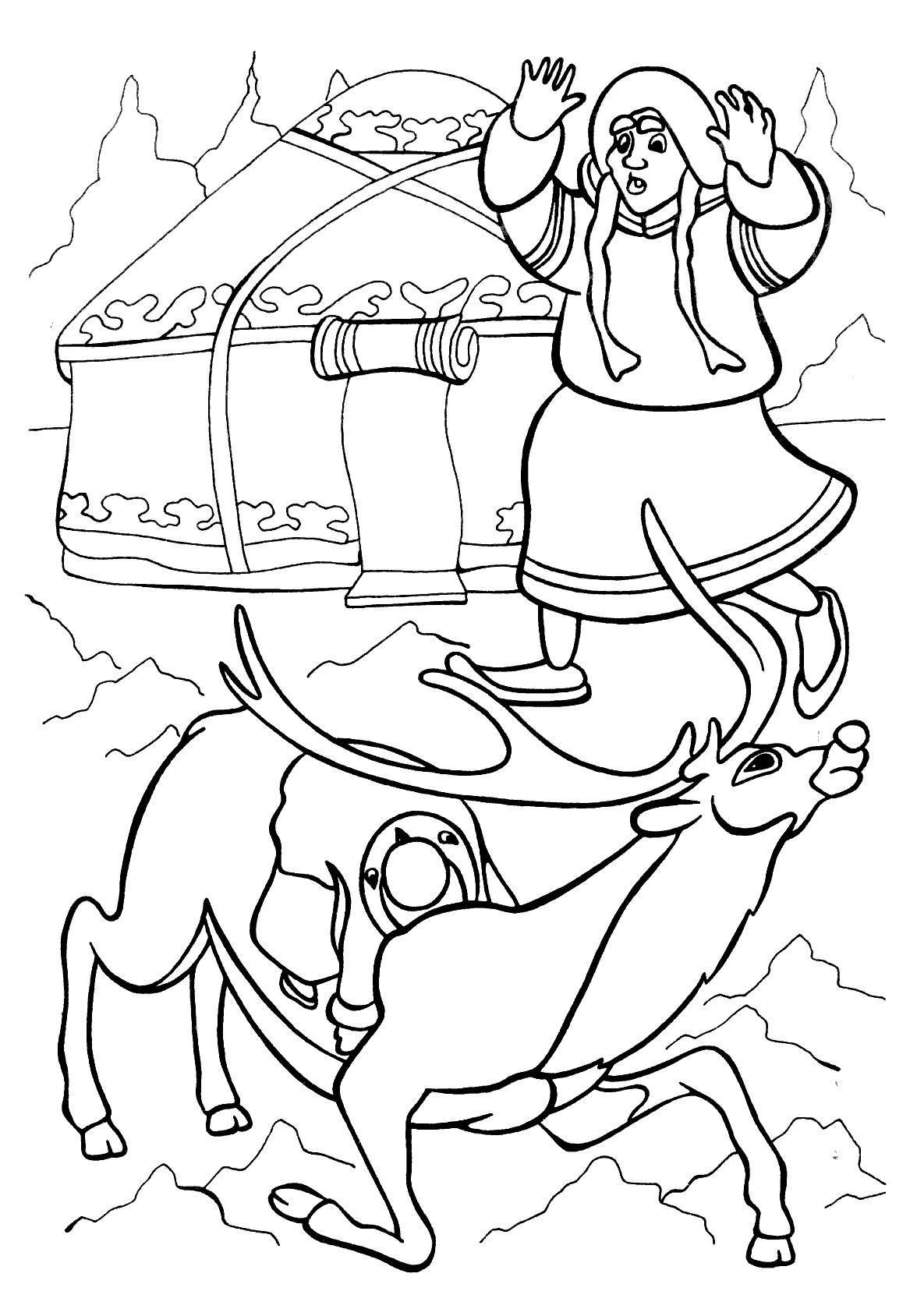 Герда на северном олене Зимние раскраски для мальчиков