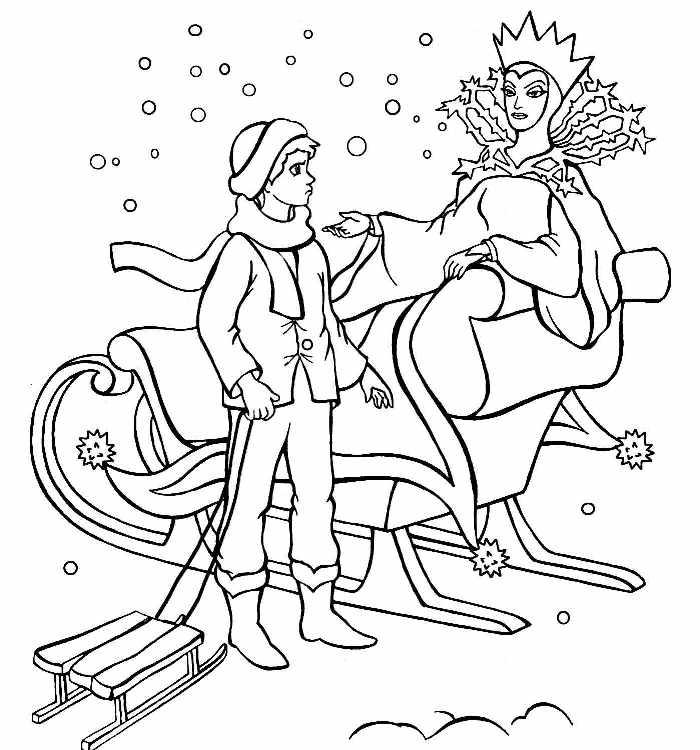 Кай и снежная королева Зимние раскраски для мальчиков