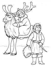 Северный олень герда и разбойница Зимние раскраски для мальчиков