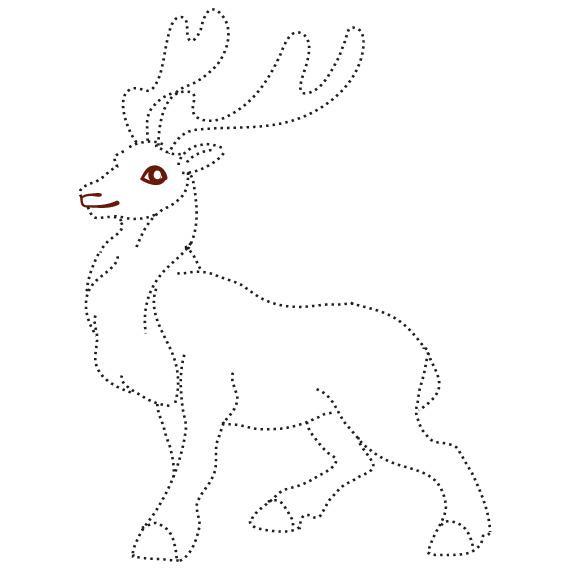 Северный олень Зимние рисунки раскраски