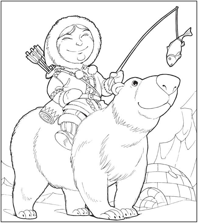 Езда на северном медведе Зимние раскраски для малышей