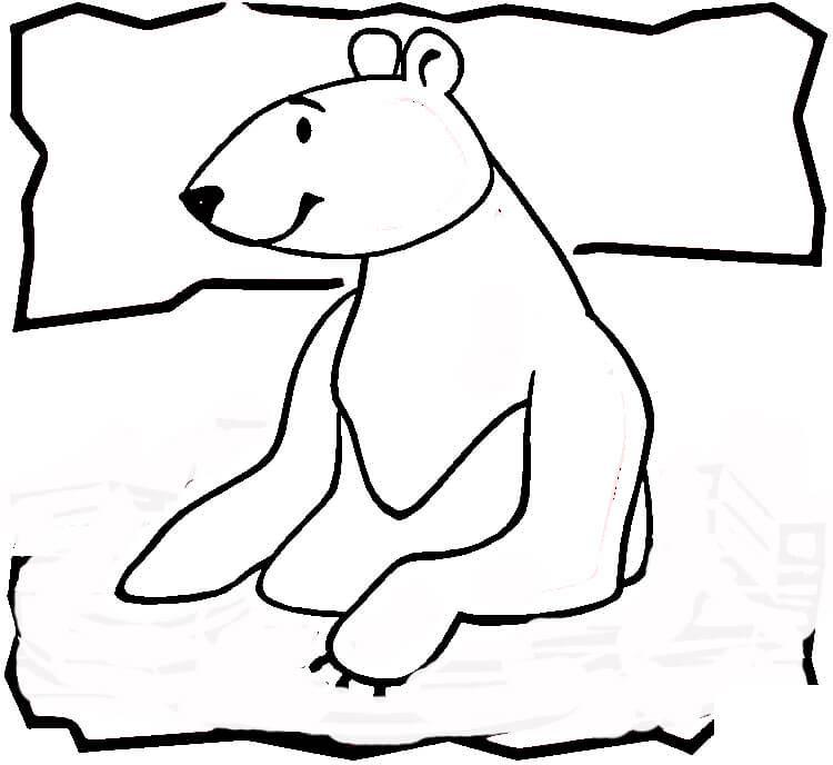 Северный мишка купается Зимние раскраски для малышей
