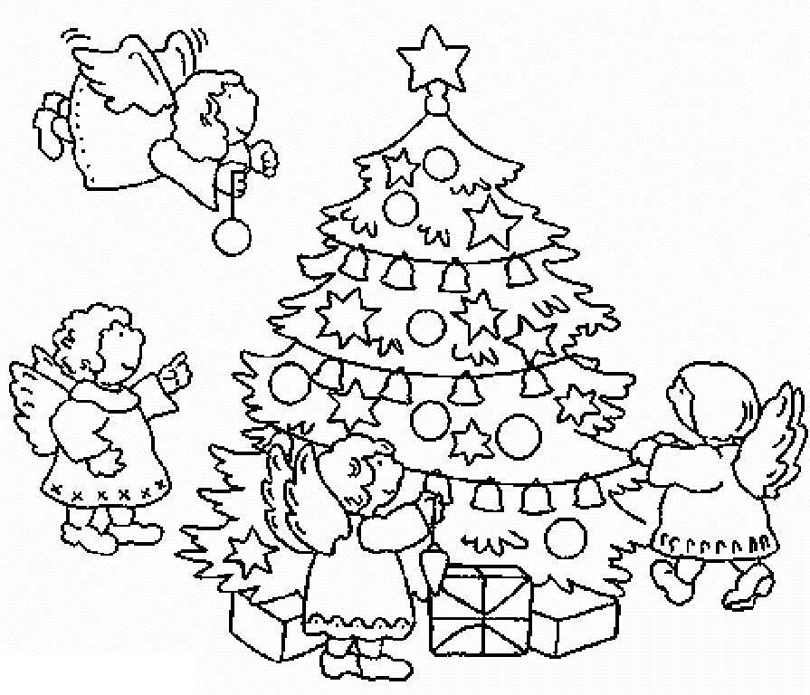 Ангелочки наряжают елочку Детские раскраски зима распечатать
