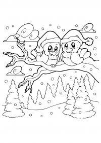 Птички из простоквашино Раскраска сказочная зима