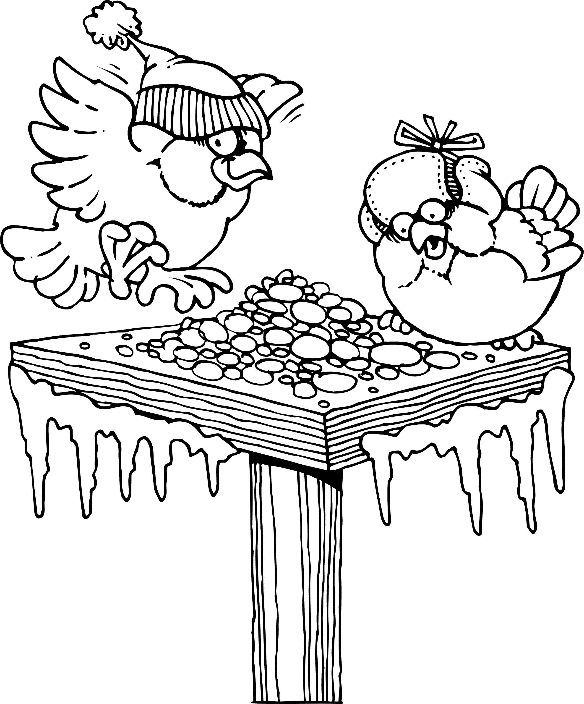 Птичке в кормушке простоквашино Раскраска сказочная зима