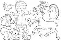 Дети Раскраски на тему зима