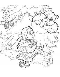 Лес Раскраски на тему зима