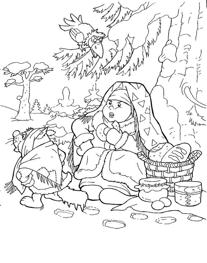 Марфуша под елкой Раскраски про зиму для детей
