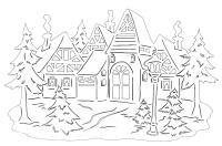 Пейзаж зимней деревне Раскраска зима