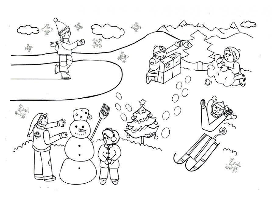 Детские забавы Детские раскраски зима распечатать