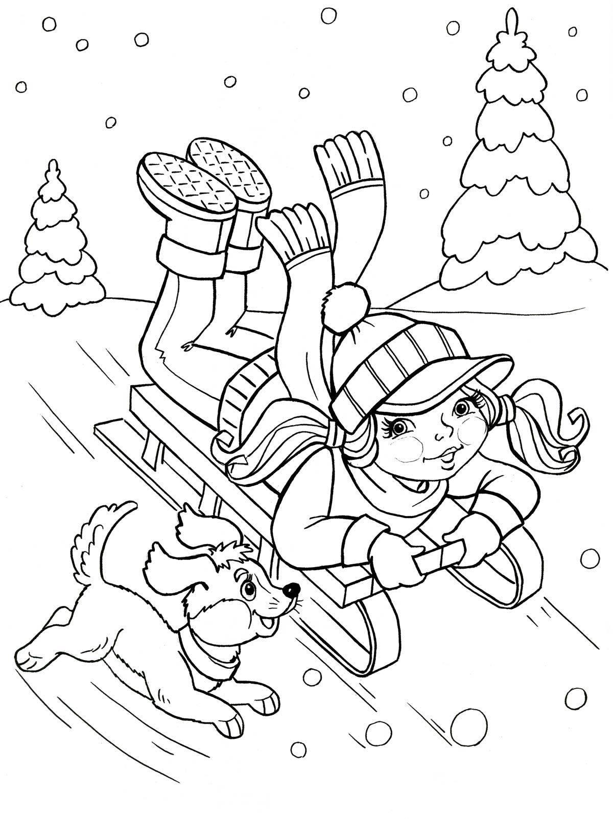 Девочка на санках Раскраски на тему зима