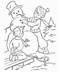 Зимние Раскраски на тему зима