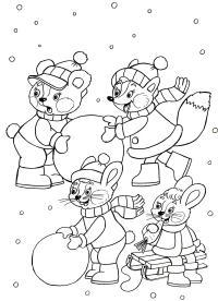 Зверята лепят снеговика Раскраски на тему зима