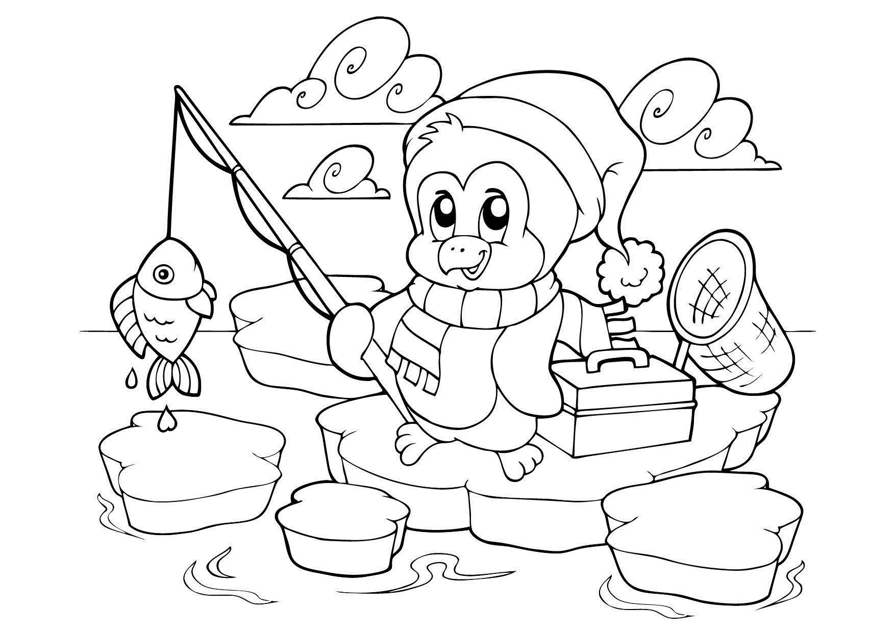 Пингвин на рыбалке Зимние раскраски для девочек