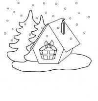 Маленькая избушка с двумя елочками Раскраска зима