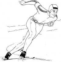 Конькобежец,  зимние виды спорта Раскраски зима распечатать бесплатно