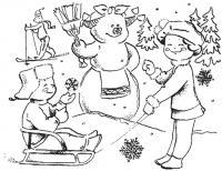 Новый год, снеговик с косичками, играющие дети Раскраска зима