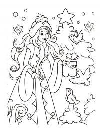 Снегурочка дарит птичкам подарки Зимние раскраски для мальчиков