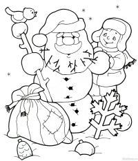 Дед снеговик, мальчик, птица Раскраски про зиму для детей