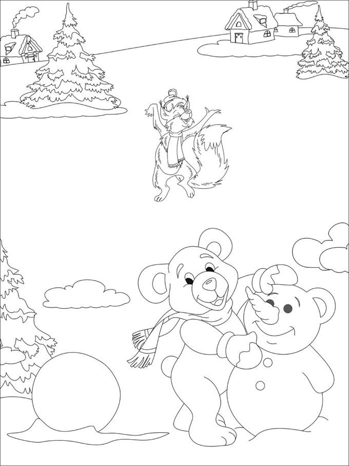 Зимние забавы зверят Раскраски про зиму для детей
