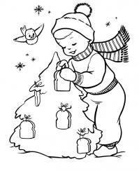 Кормление птички хлебом Раскраски про зиму для детей