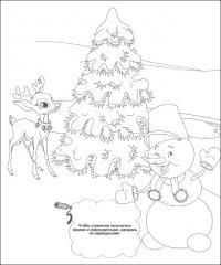 Зимние забавы, елка, снеговик, олененок Детские раскраски зима распечатать