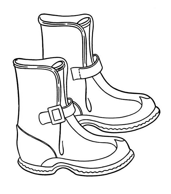 Зимняя одежда, сапожки Раскраска зима распечатать