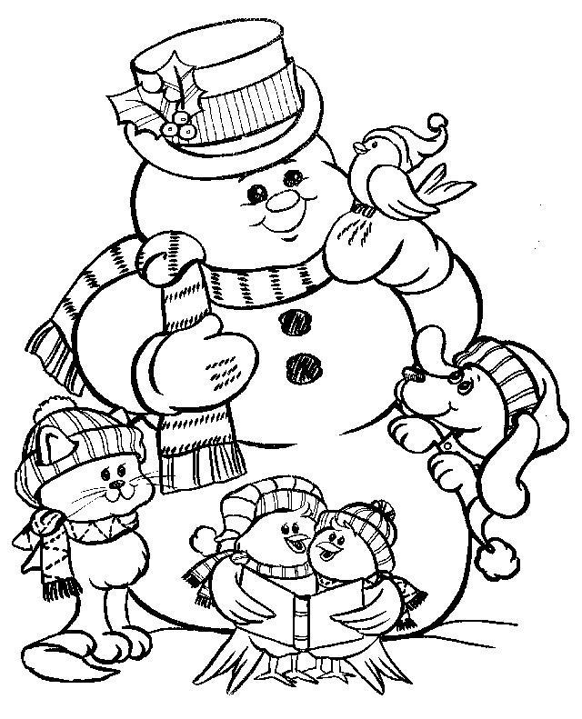 Добрый снеговик Детские раскраски зима распечатать