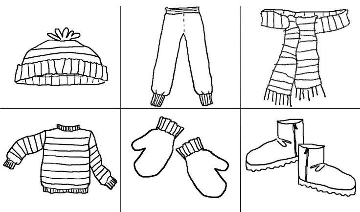 Зимняя одежда, шапка, шарф, варежки Раскраска зима распечатать