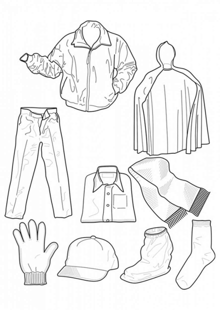 Зимняя одежда Зимние рисунки раскраски