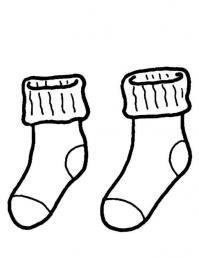 Зимняя одежда, теплые носки Раскраска зима пришла