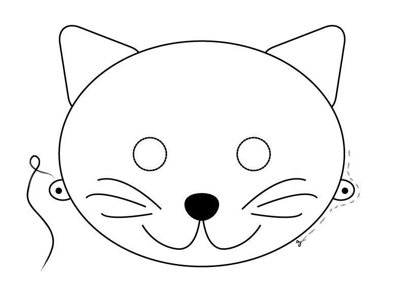 Маска котенка Раскраски про зиму для детей