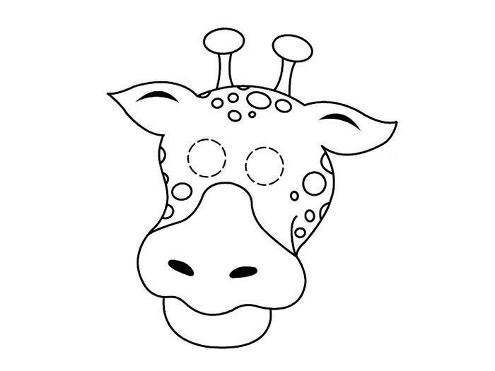 Маска жирафа Раскраски про зиму для детей
