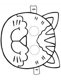 Маска кошки Раскраски про зиму для детей