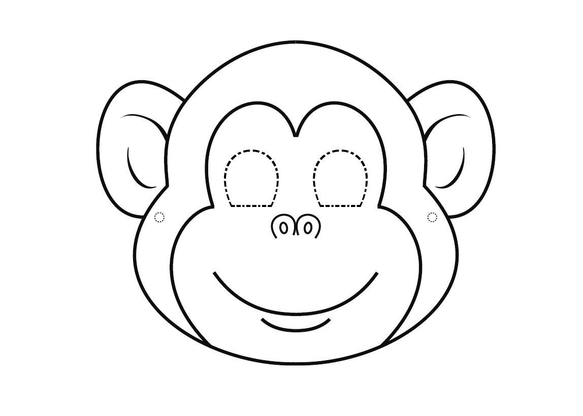 Маска обезьянки Раскраска зима распечатать