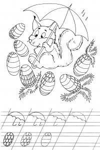 Блочка с шишками пропись Зимние раскраски для девочек