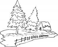 Ели возле дома Раскраска зима