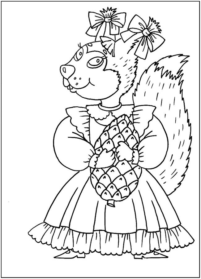Белочка в платье с шишкой Раскраска зима
