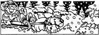 Озорная езда на собаках Детские раскраски зима распечатать