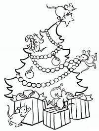 Мыши хулиганят на елке Раскраски зимушка зима