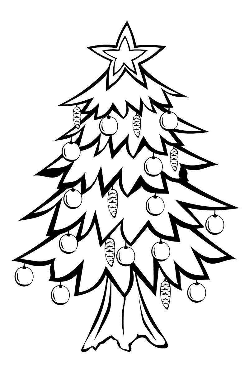 Красивая елочка с шишками Зимние раскраски для девочек