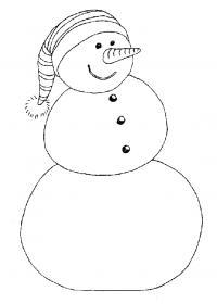 Снеговичек в полосатой шапочке Рисунок раскраска на зимнюю тему