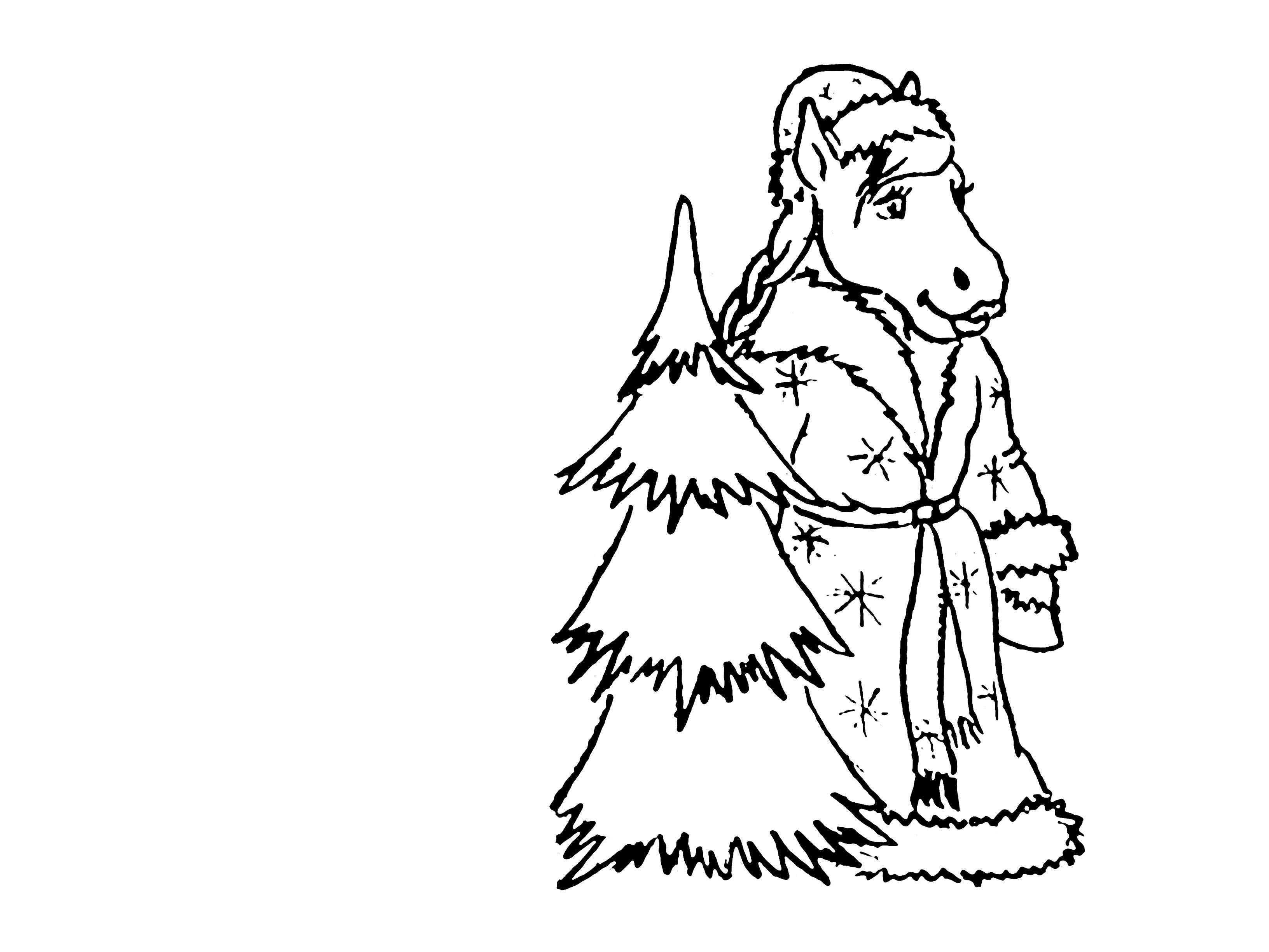 Лошадь в костюме деда мороза рядом с елочкой Зимние раскраски для девочек