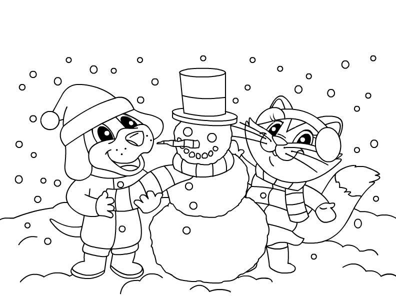 Снеговик, зимние каникулы Детские раскраски зима распечатать