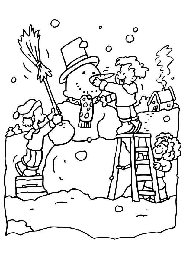 Снег, дети лепят большого снеговика Раскраска зима распечатать