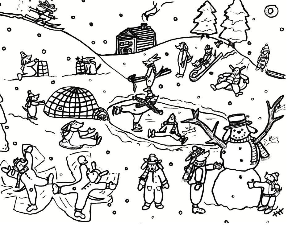 Снежные забавы Раскраска зима распечатать