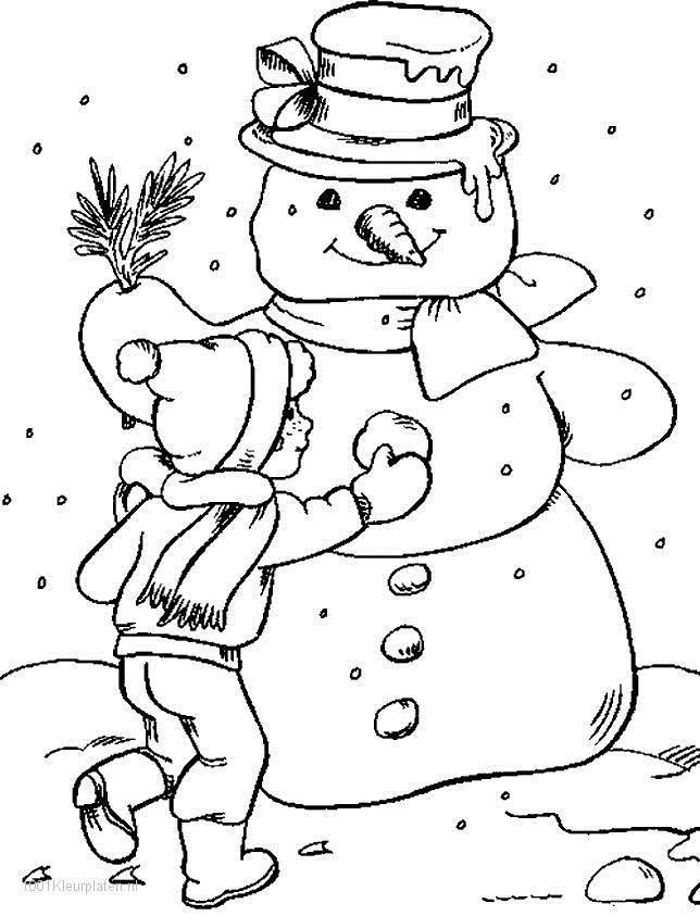 Снег, лепка снеговика Зимние раскраски для малышей