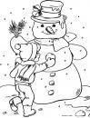 Снег, лепка снеговика Раскраска зима распечатать