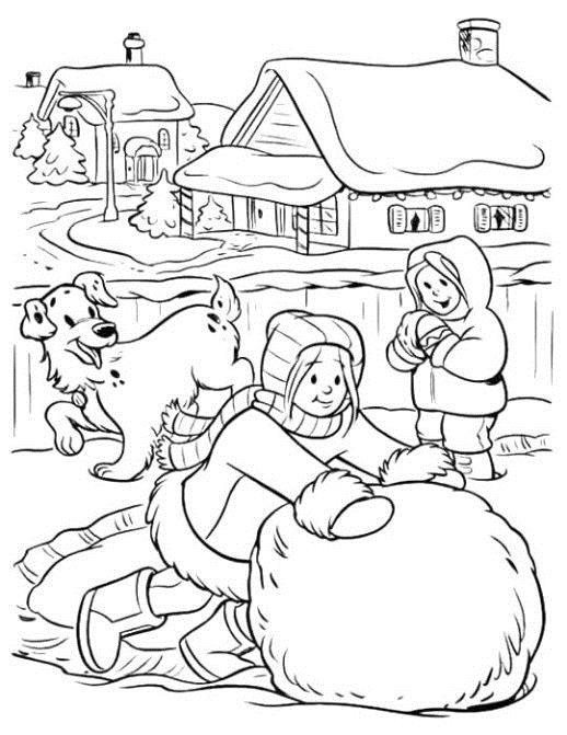 Снежный двор Зимние раскраски для девочек